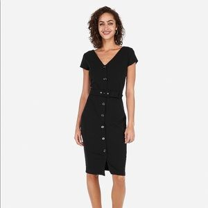 Belted Button Front Sheath Dress